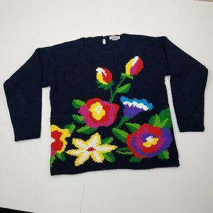Vintage Christina Blue Floral Sweater Small Knit